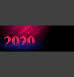 happy new year 2020 glowing banner in pink and vector image