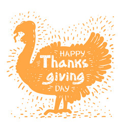 happy thanksgiving day with turkey bird vector image