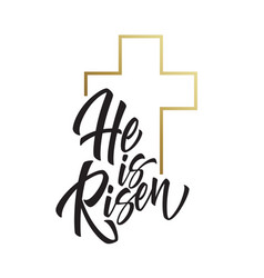 he is risen lettering isolated on white background vector image