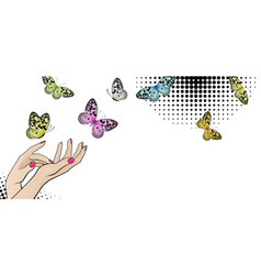 Horizontal banner with female hands and bright vector