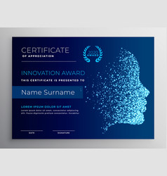 Innovation award certificate design with particle vector