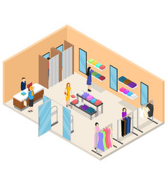 Interior clothing store isometric view vector