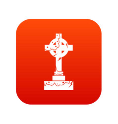 Irish celtic cross icon digital red vector