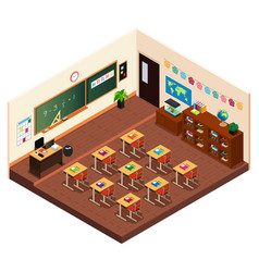 isometric of a elementary school classroom vector image
