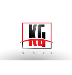 Kg k g logo letters with red and black colors and vector