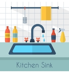 Kitchen sink with kitchenware vector