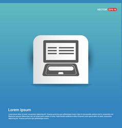 Laptop icon - blue sticker button vector