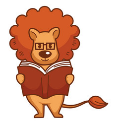 Lion with big mane in glasses reads book vector