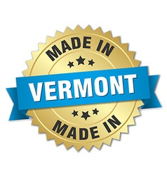 Made in vermont gold badge with blue ribbon vector