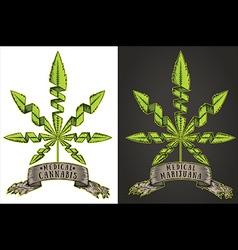 Marijuana cannabis green leaf symbol stamps vector