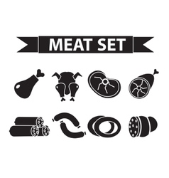 Meat and sausages icon set modern line style vector image