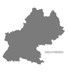 Midi-pyrenees france map grey vector
