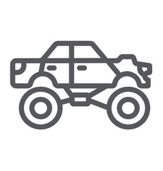 monster truck line icon transport and extreme vector image
