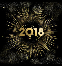 new year 2018 gold firework night sky card vector image