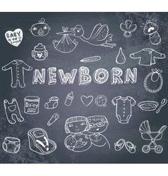 Newborn doodles set vector image