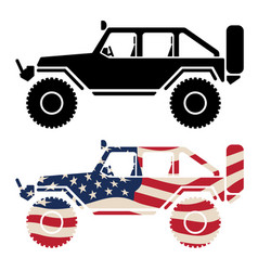 Off road 4x4 vehicle with usa flag and black vector