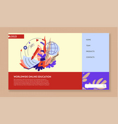 online education worldwide service landing web vector image