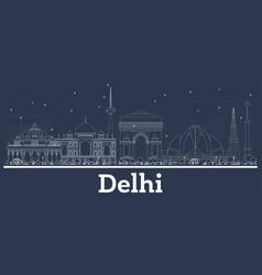 Outline delhi india city skyline with white vector