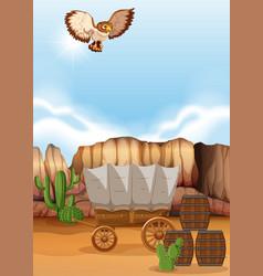 Owl flying over the wagon in desert vector