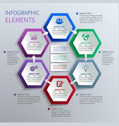 Paper hexagons infographics vector