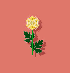 Paper sticker on background of flower aster vector