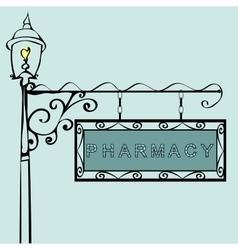 pharmacy retro vintage street sign vector image
