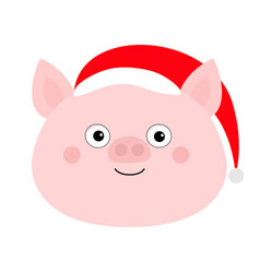 pig piglet face in santa red hat cute cartoon vector image