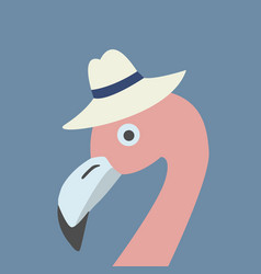 Pink flamingo head wearing hat retro style blue vector