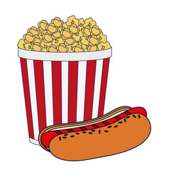 Pop corn cup and hot dog blue lines vector