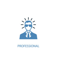 professional concept 2 colored icon simple blue vector image