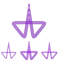 Purple line research logo design set vector