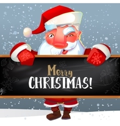 Santa with blackboard and greetings vector