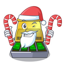 Santa with candy cartoon cash register with a vector