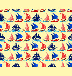 Seamless background with yachts vector