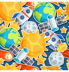 Seamless pattern of solar system planets and vector image