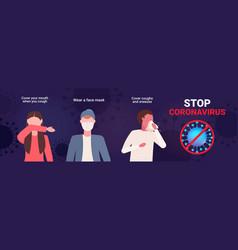 Set basic protective measures against coronavirus vector