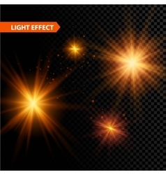 set glowing light effect stars bursts vector image