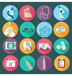Set of flat design concept icons for medicine vector image