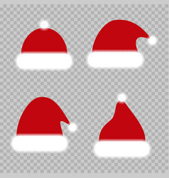 set of red christmas hats chrismat hats santa vector image