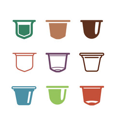 set of the coffee capsules flat icons vector image