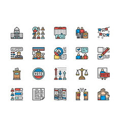 Set voting and elections color line icons vector