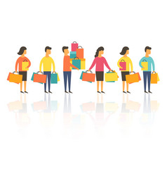 shopping people with bags vector image