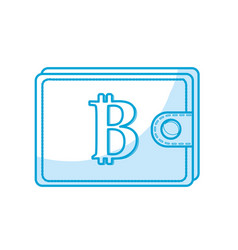 silhouette bitcoin symbon in the wallet to save vector image