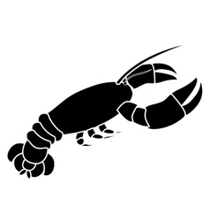 Silhouette monochrome with lobster diagonal view vector