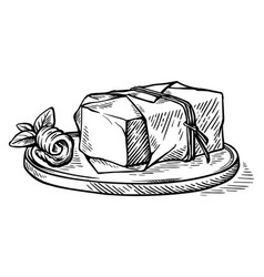 sketch hand drawn piece of butter wrapped in a vector image
