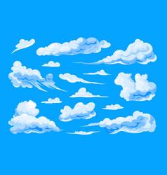 sky clouds set on blue background vector image