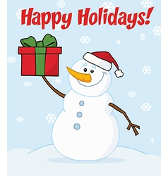 Snowman cartoon vector image