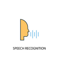 speech recognition concept 2 colored line icon vector image