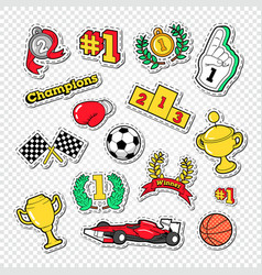 sports success trophy winner stickers set vector image