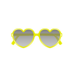 sun glasses in shape of heart in yellow design vector image